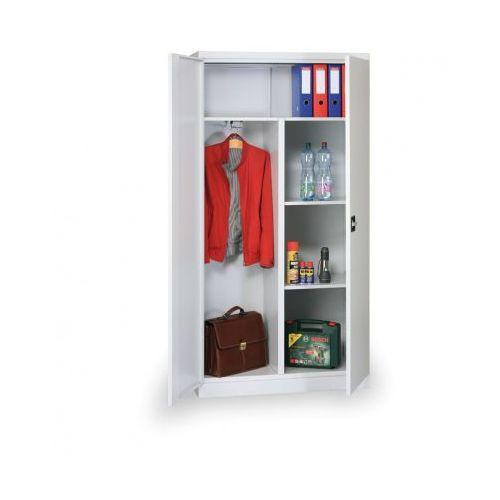 Kombinowana szafka ubraniowa z półkami, 1950x950x400 mm, szara