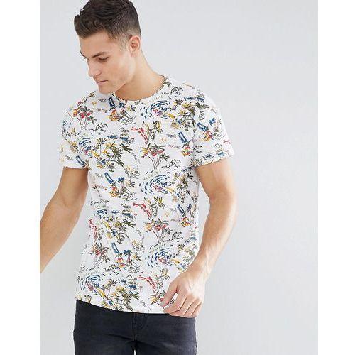 Bellfield T-Shirt With Hawaiian Print - White