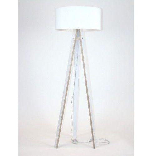 Lampa podłogowa na trzech nogach drewniana z abażurem RAGABA WANDA - biała/biały abażur