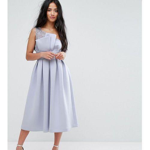 premium one shoulder lace scuba midi prom dress - blue marki Asos petite