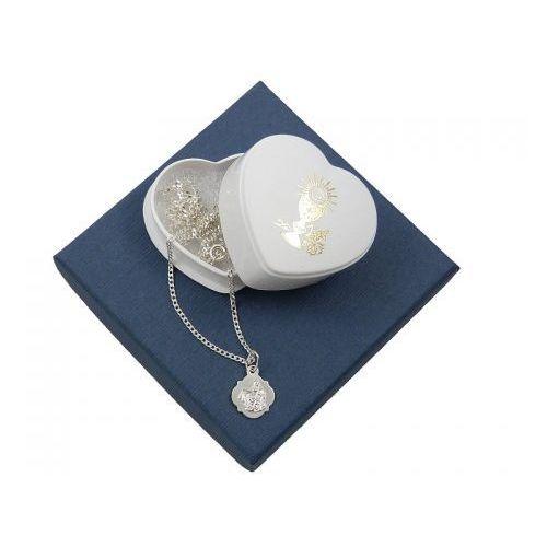 Zestaw na komunię: medalik szkaplerzny + łańcuszek 0,5 - 50cm - srebro 925