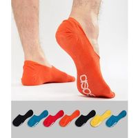 Asos design invisible liner socks in retro colours with branded soles 7 pack - multi