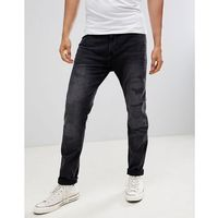 tapered jeans with abrasions in black wash - black, Burton menswear