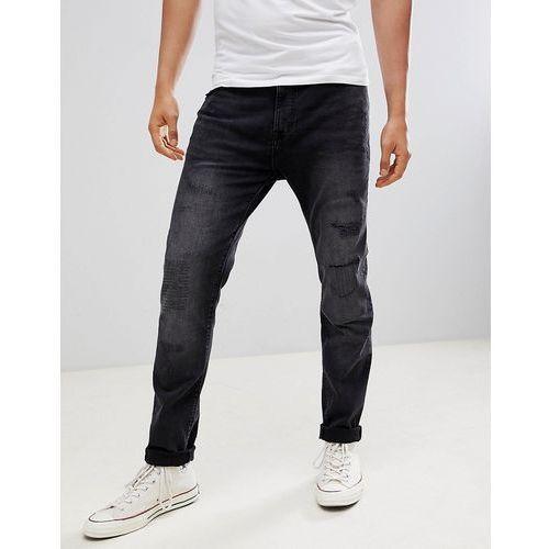 Burton Menswear Tapered Jeans With Abrasions In Black Wash - Black, kolor czarny