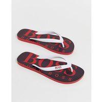 Boss logo flip flops in red - red