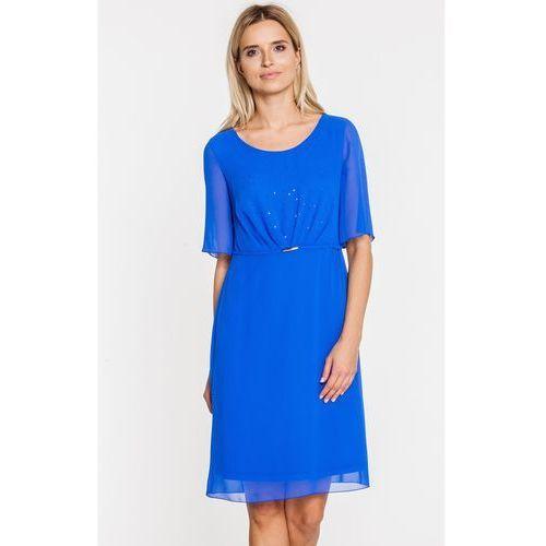 Niebieska sukienka z marszczonym przodem - Vito Vergelis, kolor niebieski