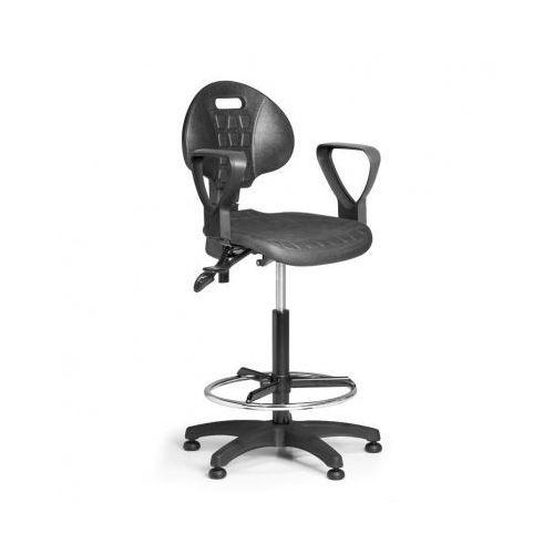 Krzesło PUR z podłokietnikami, asynchroniczna mechanika, ślizgacze