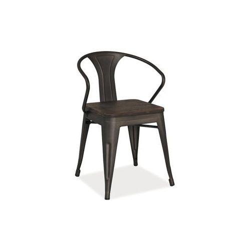 Krzesło metalowe SIGNAL ALVA grafit/ciemny orzech LOFT