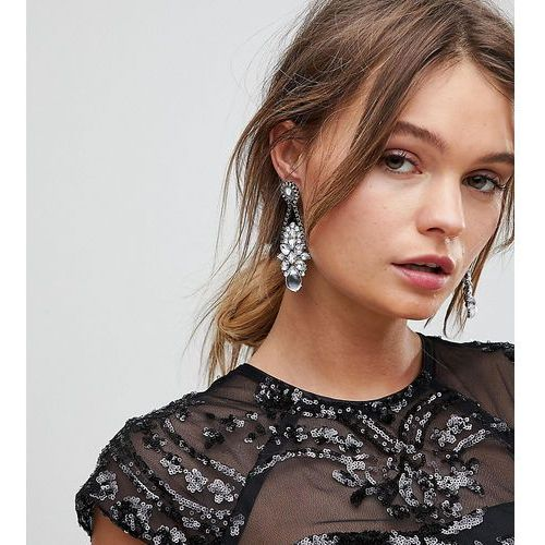 True decadence pewter stone statement earrings (+) - silver