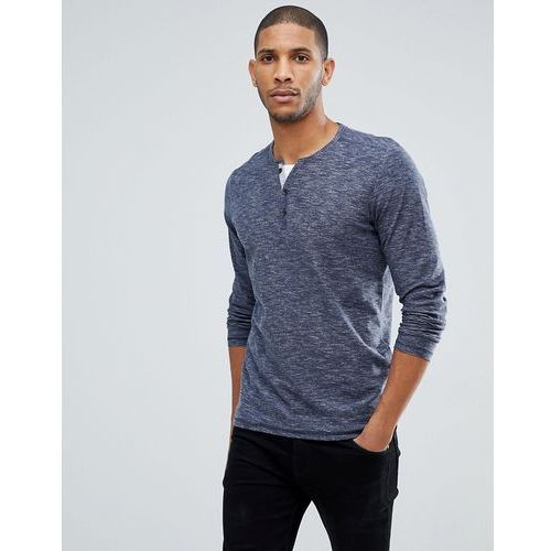 Tom Tailor LS Top In Navy Marl With Double Layer Neck - Navy