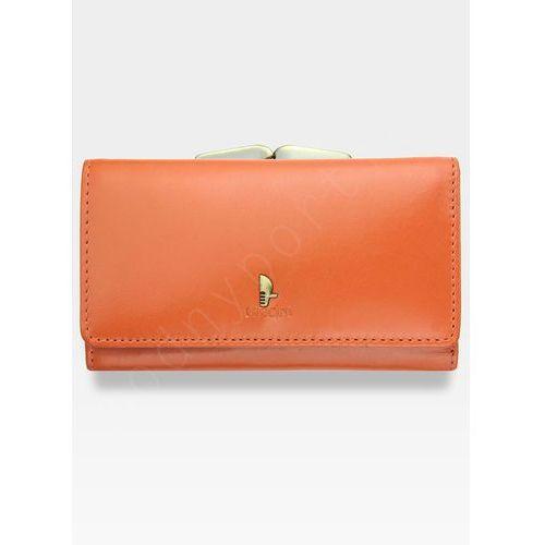 Portfel damski skórzany  klasyczny pomaranczowy z bigiem 1805p - pomarańczowy marki Puccini