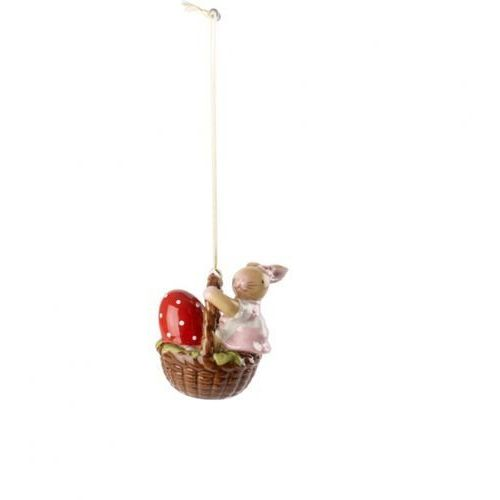 Villeroy & boch - bunny family zawieszka porcelanowa zając dziewczynka w koszyku wysokość: 6 cm
