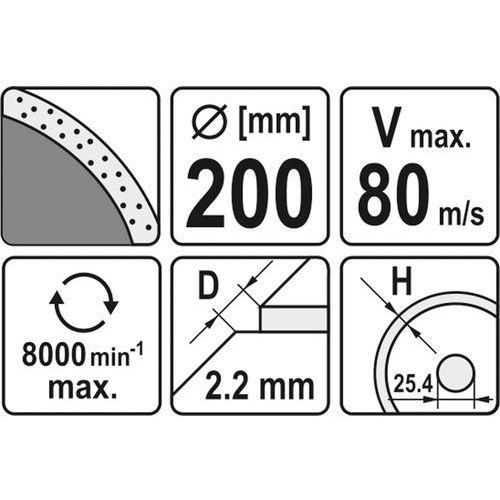 Tarcza diamentowa, segment ciągły 200x25,4 mm Yato YT-6017 - ZYSKAJ RABAT 30 ZŁ, YT-6017