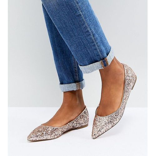 latch pointed ballet flats - gold, Asos