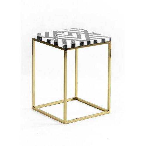 The brooklyn loft Stolik / filar marmurowy fir - złota lub czarna podstawa niski:30/30/42h | złoty