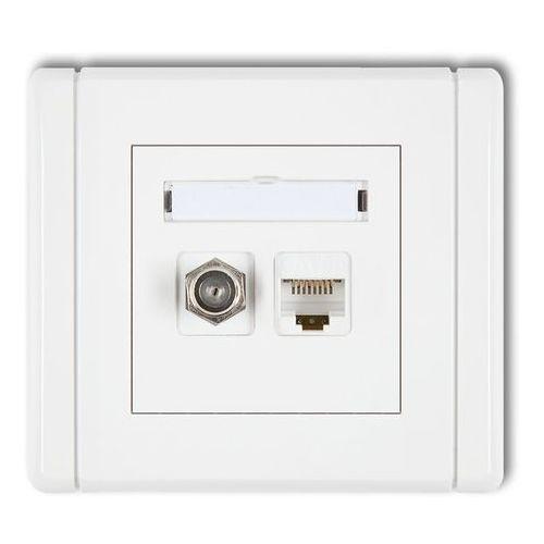 KARLIK FLEXI FGFK Gniazdo antenowe poj. typu F (SAT) + gniazdo komp. poj. 1xRJ45, kat. 5e, 8-stykowe biały