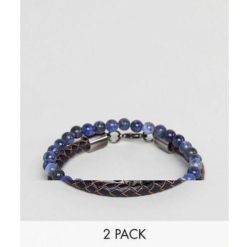Simon carter sodalite beaded bracelet with skull charm & navy leather bracelet in 2 pack - blue