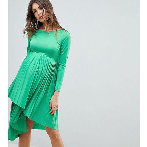 Asos design maternity pleated long sleeve midi dress - green, Asos maternity