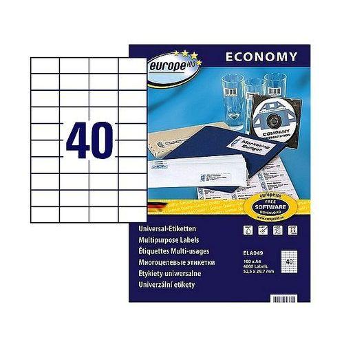 Etykiety samoprzylepne economy 52,5x29,7mm białe, 100ark. a4, ela049 marki Avery zweckform