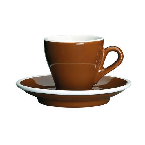 porcelanowa filiżanka do espresso ze spodkiem, 50 ml, brązowo-biała (4017166215090)