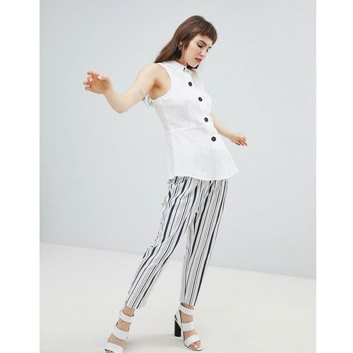 River Island Stripe Tie Front Peg Trousers - Navy, kolor szary