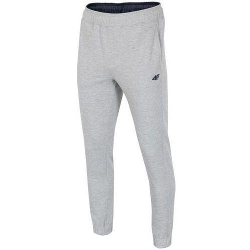 Spodnie dresowe męskie SPMD001 4F - Jasny szary, bawełna