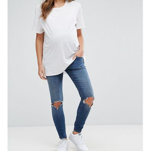 ridley skinny jeans in roy dark stonewash with busted knees - blue marki Asos maternity