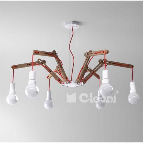 Lampa wisząca spider a6 z czerwonym przewodem, dąb żarówki led gratis!, 1325a6a305+ marki Cleoni