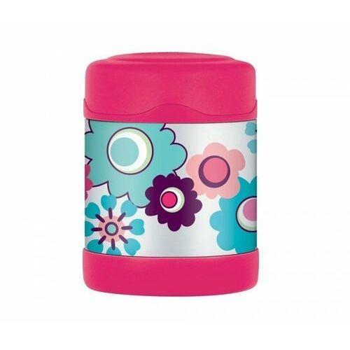 Thermos Termos dla dzieci na posiłek funtainer 290 ml (stalowy/różowy) motyw kwiaty