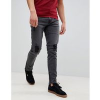 Only & Sons Skinny Fit Jeans With Rips And Zip Ankle - Grey, jeansy