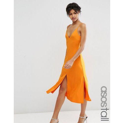 ASOS TALL Cami Strap V Front Midi Slip Dress - Orange
