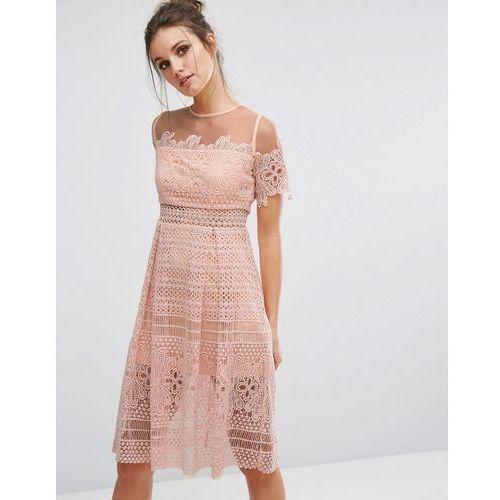 Boohoo Lace Mesh Midi Skater Dress - Beige, kolor beżowy