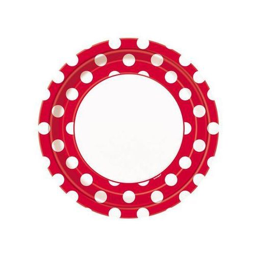Talerzyki urodzinowe biało-czerwone w białe kropki - 23 cm - 8 szt. marki Unique