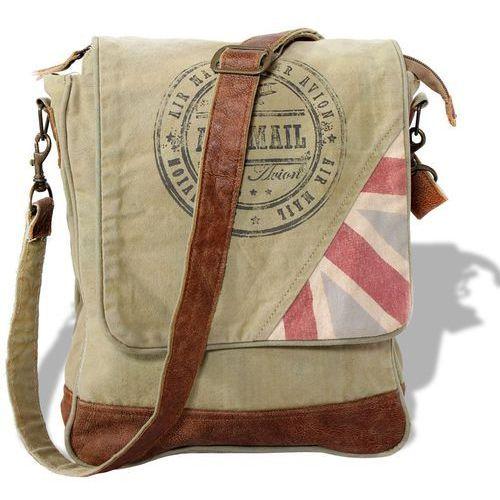 torebka na ramię płócienno-skórzana, jasnozielona marki Vidaxl