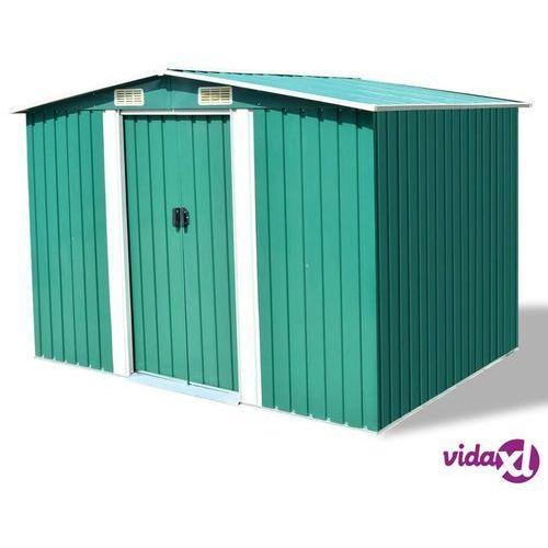 vidaXL Szopa ogrodowa, metalowa, zielona, 257 x 205 178 cm