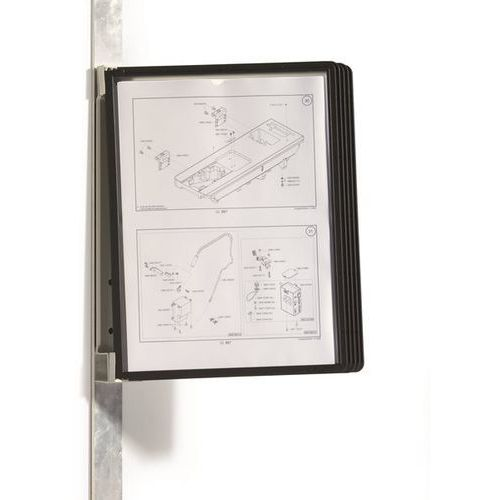 Durable Kompletny zestaw uchwytów ściennych, magnetyczny, 5 tablic przezroczystych din a