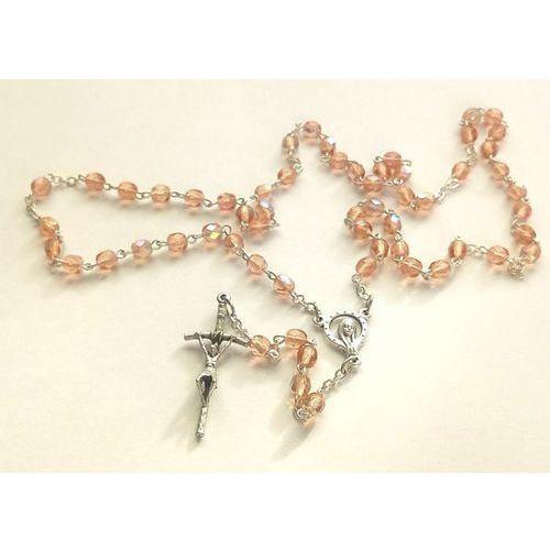 Różaniec z kryształkowy z medalikiem Matki Bożej