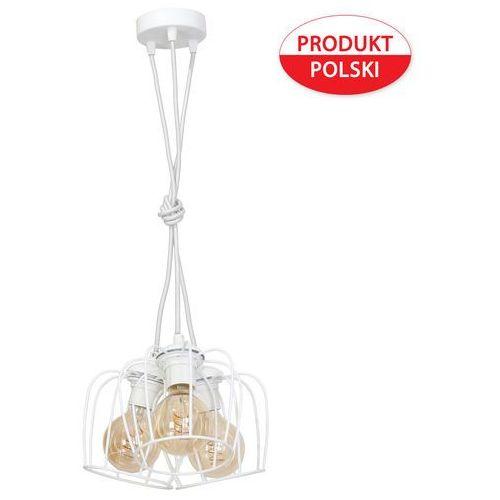 Lampa oprawa druciana wisząca zwis żyrandol Milagro Vintage 3x60W E27 biała 119, 119