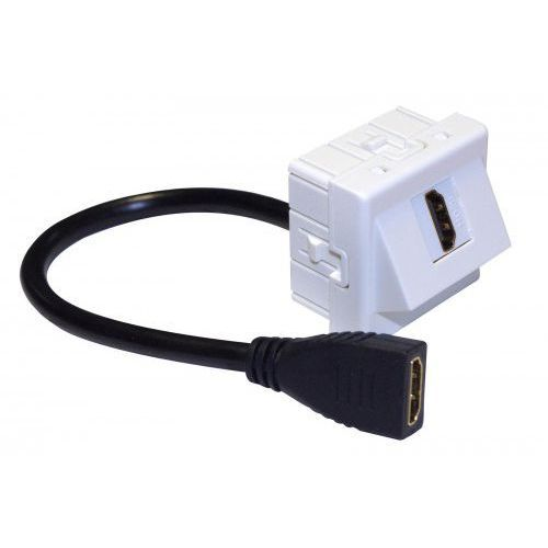 IP-M45-HDMI-20CM-KĄT Adapter Mosaic 45x45, gniazdo HDMI-HDMI na kablu 20 cm, kątowy