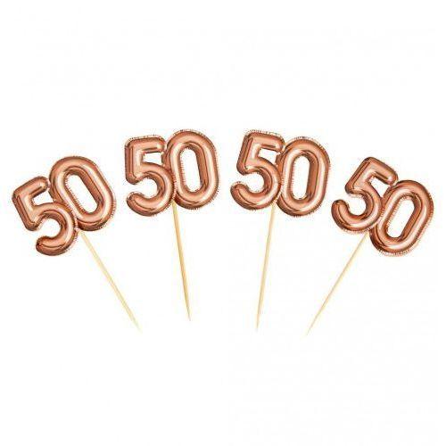 """Pikery do dekoracji na 50 urodziny """"Glitz & Glamour"""" różowo-złote (5060495973673)"""