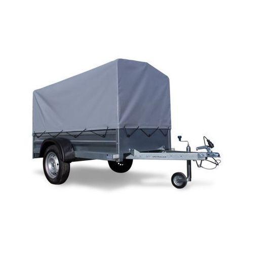 Przyczepa samochodowa lekka 200 x 106 z plandeką i stelażem dmc 750 kg garden trailer 200 marki Unitrailer