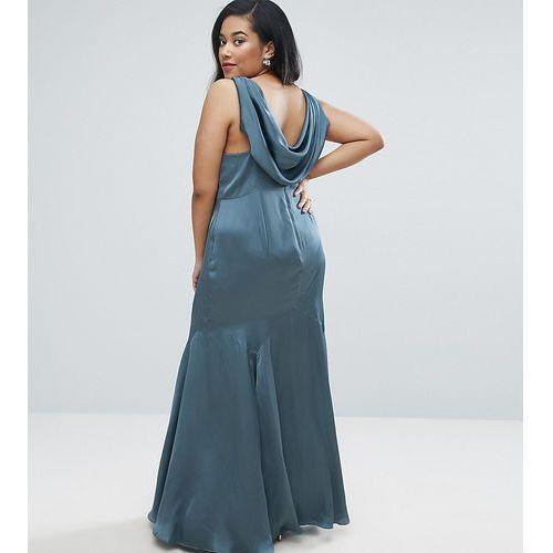 ASOS CURVE WEDDING Premium Drape Cowl Back Maxi Dress - Blue, kolor niebieski