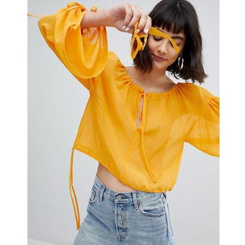 Weekday Volume Sleeve Silk Mix Shirt - Orange, jedwab