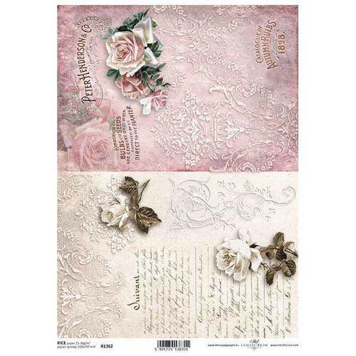 Itdcollection Papier ryżowy ozdobny 297x210 mm - kwiaty vintage