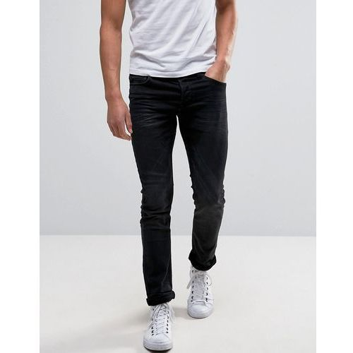 Only & sons  denim joggers in stretch slim fit in washed black - grey