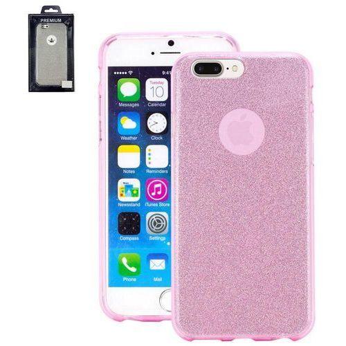 Perlecom Pokrowiec na tył iphone  4260481642540, pasuje do modelu telefonu: apple iphone 7 plus, różowy, efekt brokatu