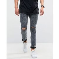 Loyalty and Faith Sid Skinny Jeans in Black Acid Wash with Knee Rips - Black