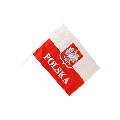 Flaga polski z godłem i napisem polska na okno samochodowe - 1 szt. marki Procos