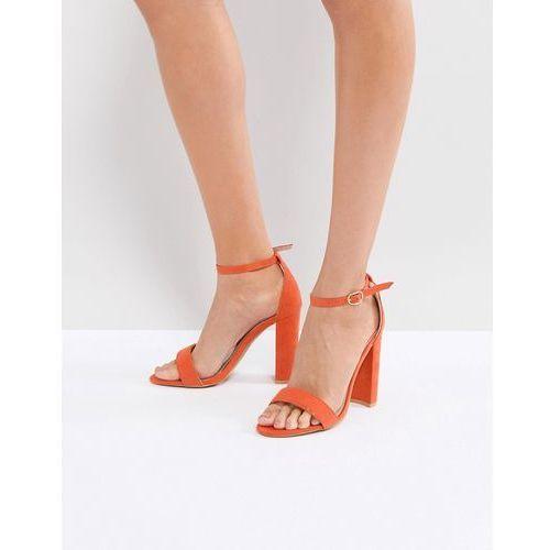 Glamorous Barely There Block Heeled Sandal in Orange - Orange, kolor pomarańczowy