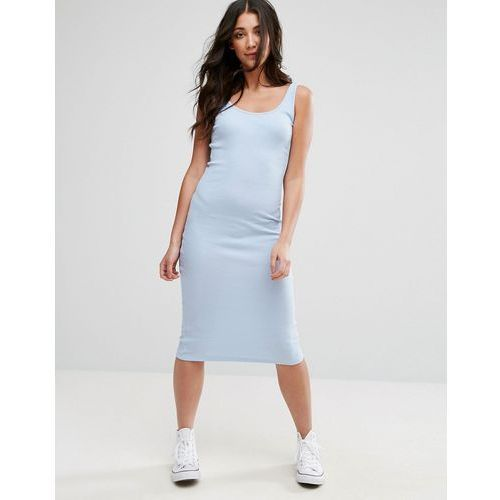 Brave Soul Sleeveless Rib Midi Dress - Blue